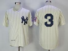 Mens Mlb New York Yankees #3 Babe Ruth Cream Throwbacks Jersey ( No Name)