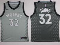 Mens Nba Minnesota Timberwolves #32 Karl-anthony Towns Gray Nike City Edition Swingman Jersey