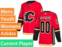 Mens Women Youth Adidas Calgary Flames Red Home Current Player Jersey