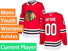 Mens Women Youth Adidas Chicago Blackhawks Red Home Current Player Jersey