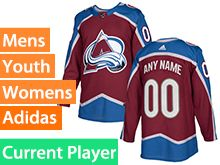 Mens Women Youth Adidas Colorado Avalanche Red Home Current Player Jersey
