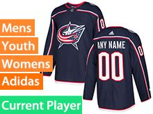 Mens Women Youth Adidas Columbus Blue Jackets Navy Home Current Player Jersey