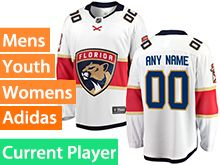 Mens Women Youth Adidas Florida Panthers White Away Current Player Jersey