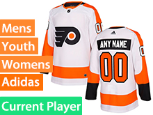 Mens Women Youth Adidas Philadelphia Flyers White Away Current Player Jersey