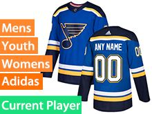 Mens Women Youth Adidas St.louis Blues Blue Home Current Player Jersey