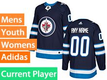 Mens Women Youth Adidas Winnipeg Jets Blue Home Current Player Jersey