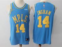 Mens Nba Los Angeles Lakers #14 Brandon Ingram Light Blue Mpls Throwbacks Jersey