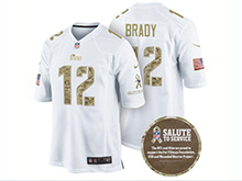 Mens Nfl New England Patriots #12 Tom Brady White Camo Number Impact Salute To Service Limited Jersey