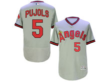 Mens Mlb Los Angeles Angels #5 Pujols Gray Throwbacks Flex Base Jersey