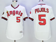 Mens Mlb Los Angeles Angels #5 Pujols White Throwbacks Flex Base Jersey