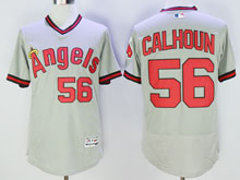 Mens Mlb Los Angeles Angels #56 Calhoun Gray Throwbacks Pullover Flex Base Jersey