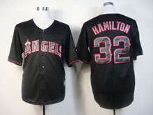 Mens Mlb Los Angeles Angels 32 Hamilton Black Fashion Jerseys