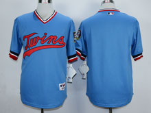Mens Mlb Minnesota Twins Blank Light Blue Pullover Cool Base Jersey