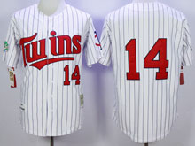 Mens Mlb Minnesota Twins #14 Hrbek White Blue Stripe ( No Name) Throwback Jersey