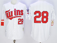 Mens Mlb Minnesota Twins #28 Blyleven White Blue Stripe ( No Name) Throwback Jersey