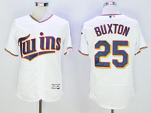 Mens Majestic Minnesota Twins #25 Byron Buxton White Flex Base Jersey