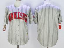 Mens Majestic Minnesota Twins (blank) Gray Blue Stripe Jersey