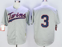 Mens Mlb Minnesota Twins #3 Killebrew Gray Blue Numbers ( No Name) Throwback Jersey