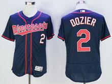 Mens Mlb Minnesota Twins #2 Brian Dozier Blue Flex Base Jersey
