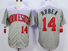 Mens Mlb Minnesota Twins #14 Hrbek Gray Blue Stripe Throwback Jersey
