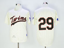 Mens Mlb Minnesota Twins #29 Carew Cream Blue Stripe ( No Name) Throwback Jersey
