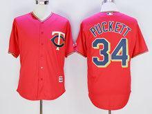 Mens Mlb Minnesota Twins #34 Kirby Puckett Red Cool Base Jersey
