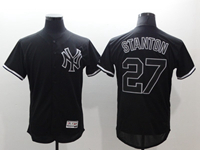 Mens Mlb New York Yankees #27 Giancarlo Stanton Black Flex Base Jersey