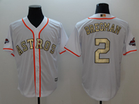 Mens 2018 Mlb Houston Astros #2 Alex Bregman White (gold Number&name) Cool Base Jersey