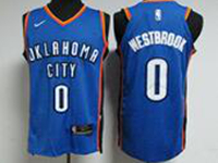 Mens Nba Oklahoma City Thunder #0 Russell Westbrook Blue Nike Jersey