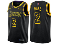 Mens Nba Los Angeles Lakers #2 Lonzo Ball Black Nike City Authentic Jersey