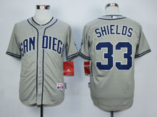 Mens Mlb San Diego Padres #33 Shields Gray Cool Base Jersey