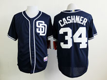 Mens Mlb San Diego Padres #34 Cashner Blue ( Sd ) Flex Base Jersey