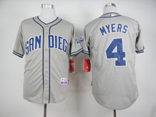 Mens Mlb San Diego Padres #4 Wil Myers Gray Cool Base Jersey