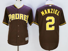 Mens Majestic San Diego Padres #2 Johnny Manziel Brown Cool Base Jersey