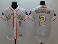 Mens 2018 Mlb Houston Astros #2 Alex Bregman White (gold Number&name) Flex Base Jersey