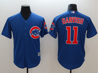 Mens Majestic Mlb Chicago Cubs #11 Yu Darvish Blue Cool Base Jersey With Team Patch