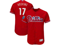 Mens Mlb Philadelphia Phillies #17 Rhys Hoskins Majestic Red 2018 Spring Training Cool Base Player Jersey