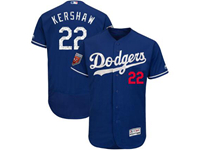 Mens Mlb Los Angeles Dodgers #22 Clayton Kershaw Majestic Blue 2018 Spring Training Flex Base Player Jersey