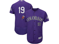 Mens Mlb Colorado Rockies #19 Charlie Blackmon Majestic Purple 2018 Spring Training Flex Base Player Jersey