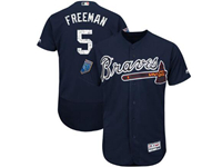 Mens Mlb Atlanta Braves #5 Freddie Freeman Majestic Navy 2018 Spring Training Flex Base Player Jersey