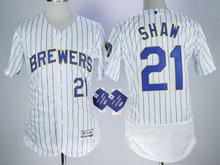 Mens Majestic Mlb Milwaukee Brewers #21 Travis Shaw White Pinstripe Flex Base Jersey
