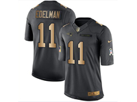 Mens Nfl New England Patriots #11 Julian Edelman Black Gold Number 2018 Limited Jersey