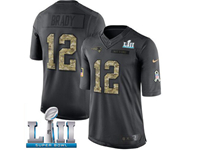 Mens Women New England Patriots #12 Tom Brady Black 2018 Super Bowl Lii Bound Salute To Service Jersey