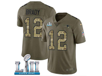 Mens Nfl New England Patriots #12 Tom Brady Green Camo Number 2018 Super Bowl Lii Bound Olive Salute To Service Limited Jersey