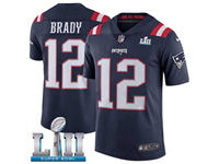Mens Women Youth New England Patriots #12 Tom Brady Blue 2018 Super Bowl Lii Bound Vapor Untouchable Color Rush Limited Player Jersey