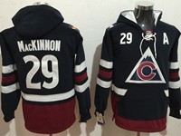Mens Nhl Colorado Avalanche #29 Nathan Mackinnon Blue One Front Pocket Hoodie Jersey