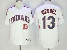 Mens Mlb Cleveland Indians #13 Omar Vizquel White Cool Base Jersey