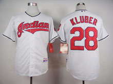 Mens Mlb Cleveland Indians #28 Corey Kluber White Cool Base Jersey