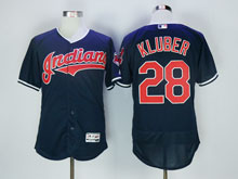 Mens Mlb Cleveland Indians #28 Corey Kluber Dark Blue Flex Base Jersey