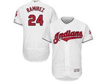 Mens Mlb Cleveland Indians #24 Manny Ramirez White Flex Base Jersey
